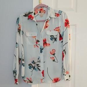 Loft button down long sleeve blouse